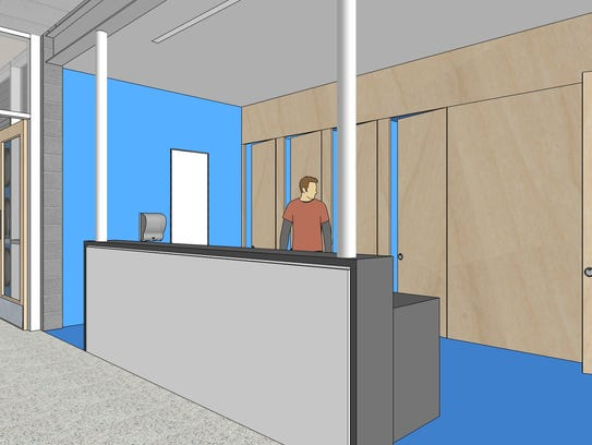 A mock-up of the new gender-neutral restroom design for WCSD's new schools.