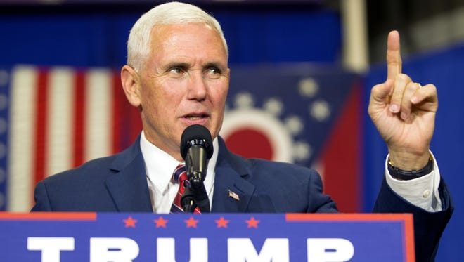 Indiana Gov. Mike Pence, the Republican vice presidential candidate, spoke Friday, Oct. 7, 2016, during a campaign stop at the Rossford Recreation Center in Rossford, Ohio.