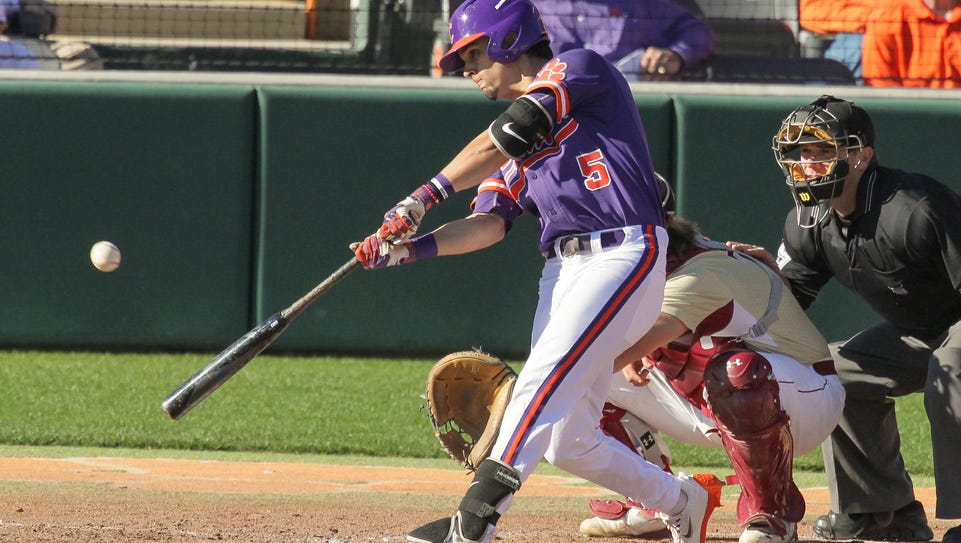 Clemson junior outfielder Chase Pinder (5) hits a ball