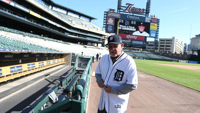 Ron Gardenhire on the field at Comerica Park in Detroit on Oct. 20.