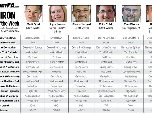 Our staff's Week 5 predictions. Click the image to see a bigger version.