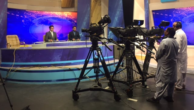 A studio inside a state-of-the-art television studio in Pakistan