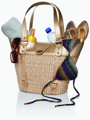 Beach bag containing accessories