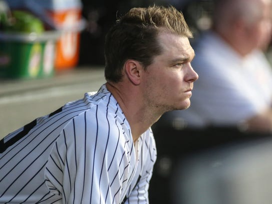 New York Yankees pitcher Sonny Gray (55) watches from
