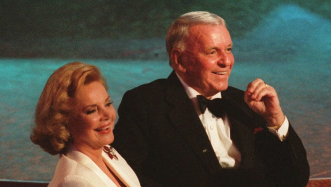 Frank and Barbara Sinatra are seen during the taping of his 80th birthday special in 1995.
