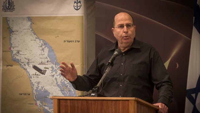 Israeli Defense Minister Moshe Yaalon speaks during a press conference in Tel Aviv on Wednesday about the raid on an Iranian ship.