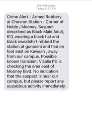 A crime alert sent to College of the Sequoias students