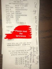 A customer wrote an anti-gay message to Justin Stutte
