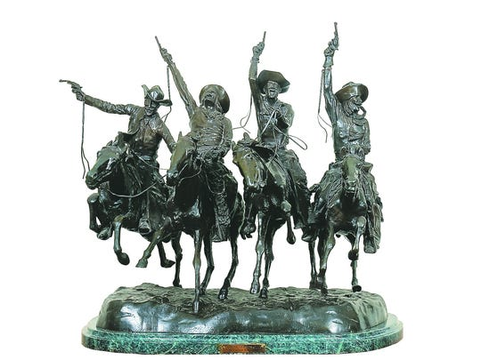 "Bronze sculpture reproduction of Remington's ""Coming"