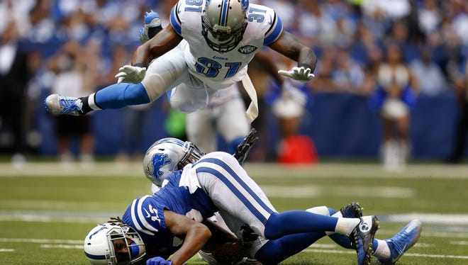 Indianapolis Colts wide receiver T.Y. Hilton (13) drops a pass early in the first half against the Detroit Lions at Lucas Oil Stadium on Sept. 11, 2016.