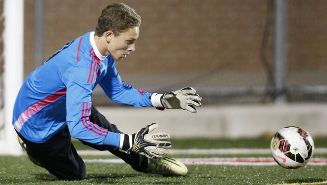 Tower Hill keeper Bo Anderson, seen here in previous DIAA DII semifinal game, made three key saves in penalty kicks to help the Hillers reach the DIAA DII semifinals on Wednesday