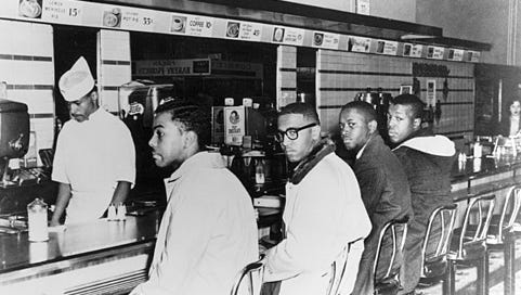 On Feb. 1, 1960:, four African-American students from North Carolina A&T sat at the whites-only Woolworth's lunch counter in Greensboro, North Carolina, and were refused service, sparking six months of sit-ins. By the end of the month, 31 sit-ins had been held in nine other Southern states, resulting in hundreds of arrests.