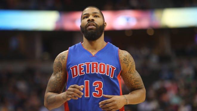 Detroit Pistons forward Marcus Morris looks on against the Denver Nuggets on Jan. 23, 2016.