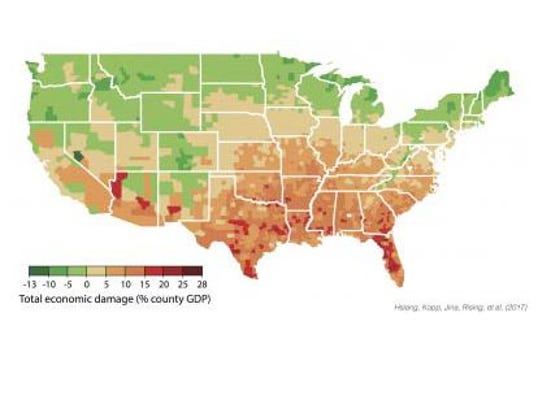 The Economic Cost Of Climate Change Southern US Will Be The - Southern us map with cities