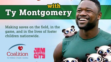 """Green Bay Packers running back Ty Montgomery is teaming up with the """"Panda Pop"""" game to benefit foster care families in Wisconsin."""