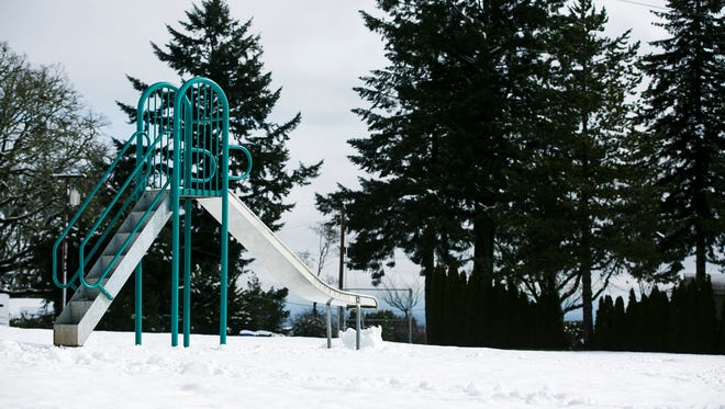 Eola Heights County Park is covered in snow on Monday, March 6, 2017. A possibility of 1-2 inches of snow in Salem returns tonight.