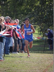 Port Aransas runner John Zuniga competes during Saturday's  UIL Class 2A State Cross Country Championships in Round Rock. Zuniga finished second in the boys 2A race.