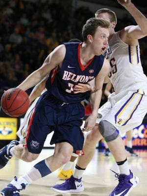Belmont's Evan Bradds drives against Tennessee Tech's Mason Ramsey in the Ohio Valley Conference game at Elen Center on Feb. 11, 2017.