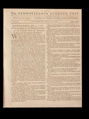 On display at the Museum of the American Revolution in Philadelphia is a copy of the June 6, 1776 issue of the Pennsylvania Evening Post with the first newspaper printing of the Declaration of Independence.