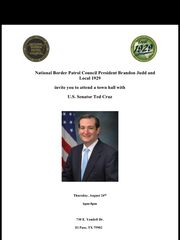 The National Border Patrol Council sent out this flyer promoting a meeting between its members and U.S. Sen. Ted Cruz, R-Texas.