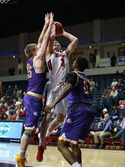 Dylan Windler, who led Belmont with 24 points, goes