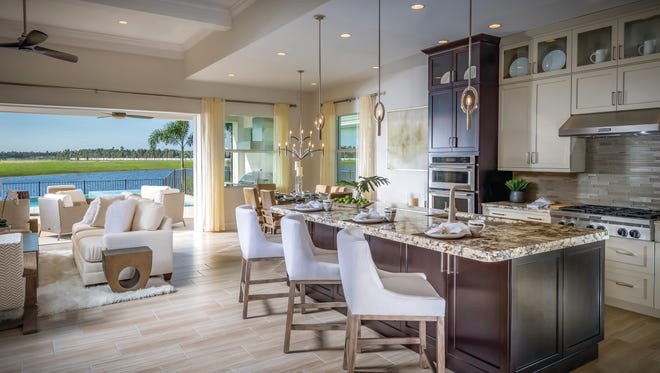 A 3,122-square-foot Massiano home, similar to the one shown, is available now at Azure at Hacienda Lakes.