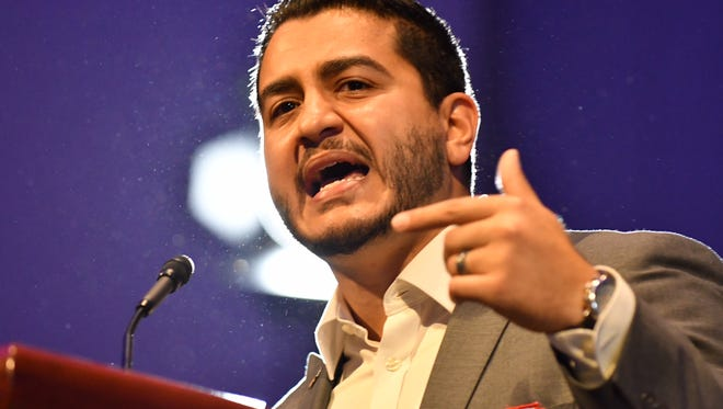 Abdul El-Sayed speaks at a rally Sunday, Aug. 5, at Cobo Center.