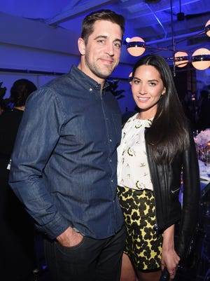Green Bay Packers quarterback Aaron Rodgers and actress Olivia Munn are shown together in Los Angeles in April.