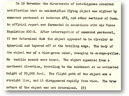 Andersen Air Force Base provided this excerpt from