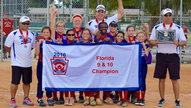 The Naples Rockets 8-10 softball all-star team won the state championship in DeLand on Sunday, July 17. The Rockets went 3-0 at the tournament, outscoring their opponents 24-1.  Pictured from left to right are Madison Means, Regan Means, Sheila Forbes, Roxy Hess, McKenzie Vargas, Leauna Aladin, Reese Gil, Gabby Alvarez, Abby Byrd and Kelsey Scott.  Coaches from left to right are Yerye Vargas, John Forbes, and Carl Alvarez.