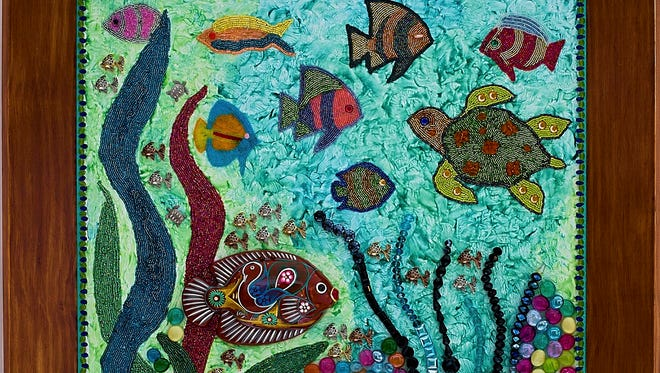 """Underwater Scene,"" ""bead painting"" by Stella Rogers, part of her exhibit opening with a Jan. 28 reception at Hope Church Art Alcoves Gallery in Sturgeon Bay."