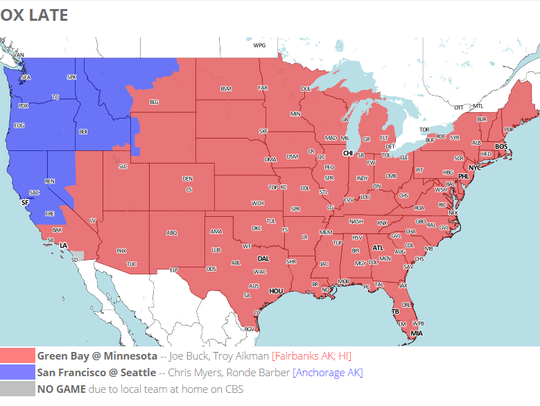 FOX will show the Packers-Vikings games to areas shaded