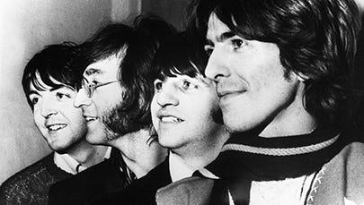 The Beatles in 1968: Paul McCartney, John Lennon, Ringo Starr and George Harrison.