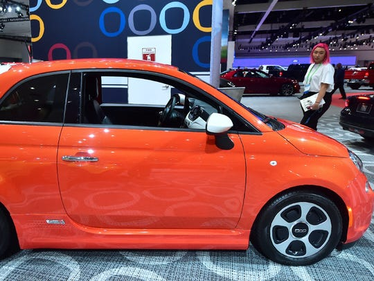 The Fiat 500e Electric Car is on display at the 2017