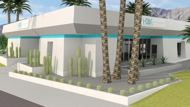 A rendering of H3K's renovation to a long-vacant South Palm Springs building.