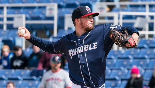 Apr 7, 2018; Binghamton, NY, USA; Binghamton Rumble Ponies pitcher Andrew Church (18) delivers a pitch during the first inning of the game against the Portland Sea Dogs at NYSEG Stadium.