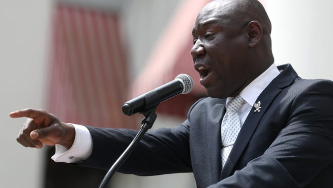 Attorney Ben Crump joins the family of Markeis McGlockton and other local leaders to protest the Stand Your Ground law.  McGlockton was shot during a parking lot dispute in Pinellas County. His assailant has not been arrested.
