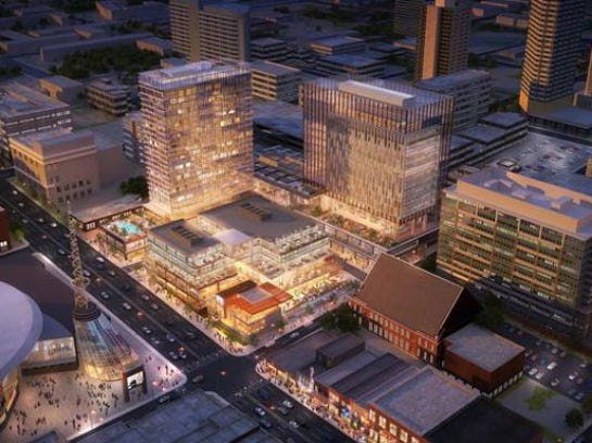 A planned $400 million makeover of the 6.2-acre Nashville