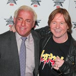 """""""Nature Boy"""" Ric Flair and """"Rowdy"""" Roddy Piper attends the WrestleMania 25th anniversary news conference at the Hard Rock Cafe? on March 31, 2009 in New York."""