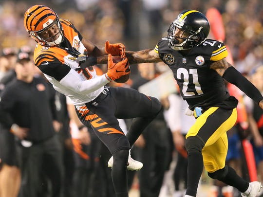 Cincinnati Bengals wide receiver Cody Core (16) is unable to come down with a deep pass in the third quarter during the Week 7 NFL game between the Cincinnati Bengals and the Pittsburgh Steelers, Sunday, Oct. 22, 2017,  at Heinz Field in Pittsburgh.