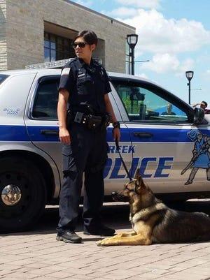 Oak Creek Police Officer Dawn Hanizeski and K9 Nox.