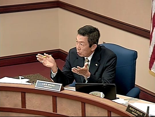 West Chester Township Trustee Lee Wong speaks at an