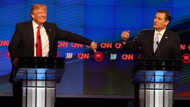 Donald Trump and Ted Cruz during a 2016 debate in Miami.