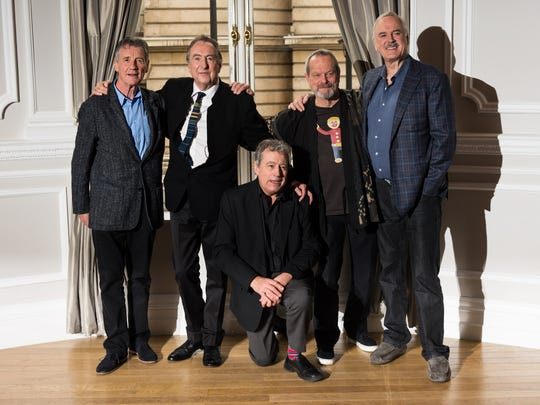 From left: Michael Palin, Eric Idle, Terry Jones, Terry Gilliam and John Cleese attend the Monty Python Reunion announcement press conference at the Corinthia Hotel today in London.