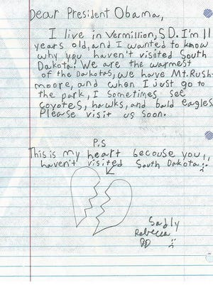 A Vermillion girl's letter was tweeted by the White House.