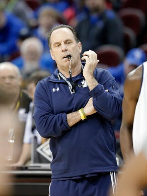 Notre Dame coach Mike Brey watches his team practice for a college basketball regional semifinal game in the NCAA Tournament in Cleveland, Wednesday, March 25, 2015. Notre Dame plays Wichita State on Thursday. (AP Photo/Tony Dejak)