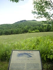 With Mount Zion in the distance, a sign describes how British soldiers flanked the Americans during the Battle of Hubbardton in July 1777. It was the only Revolutionary War battle fought on Vermont soil.