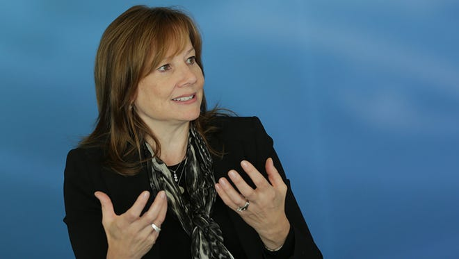 General Motor's CEO Mary Barra talk with the editorial board of the Detroit Free Press on Oct. 27.