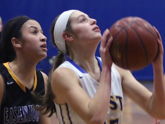 New Berlin West's Alyssa Nelson shoots for two points