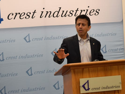 La. Gov. Bobby Jindal speaks at a press conference held at Crest Industries in Pineville Tuesday. Jindal toured Crest Industries and hosted a business roundtable.